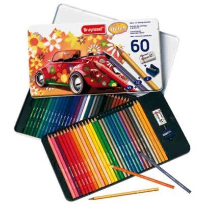 Caja de 60 lápices metálica Escarabajo colores de los años 60