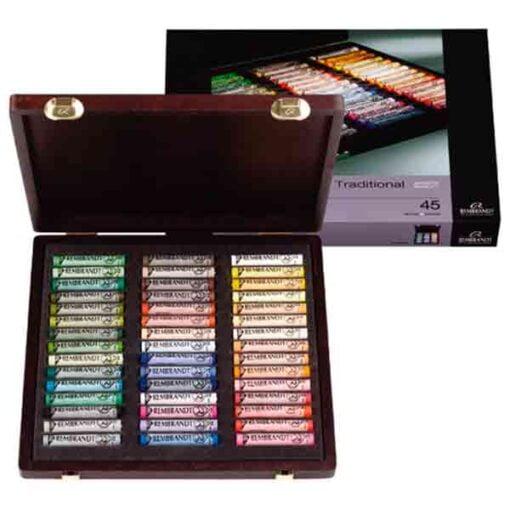 Cajas pastel rembrandt de 45 pasteles blandos de la marca rembrandt con colores especiales para paisajes.